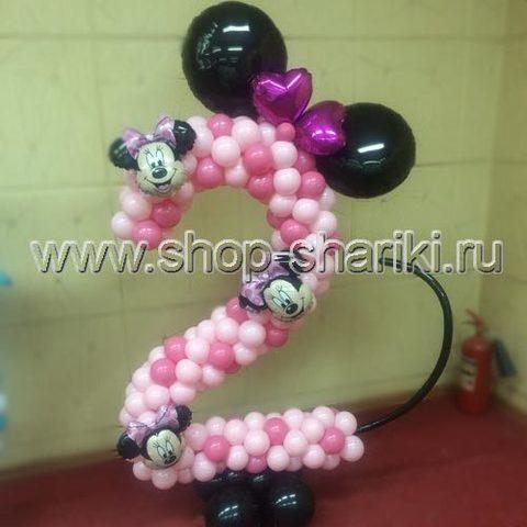 shop-shariki.ru цифра 2 из воздушных шаров в стиле Минни Маус
