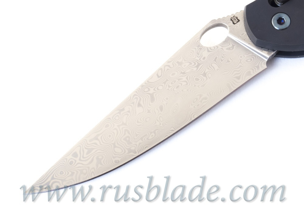 Cheburkov Axis Raven Damascus Titanium CF Folding Knife