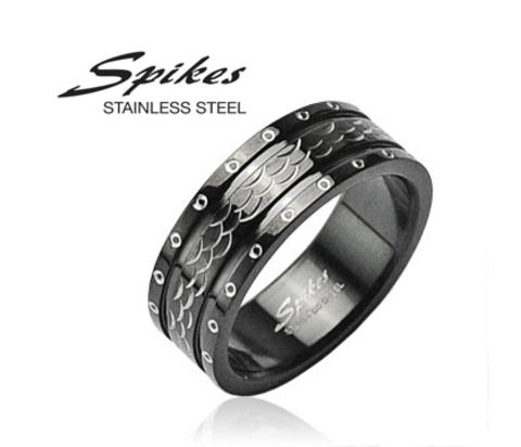 Черное мужское кольцо из стали «Spikes»