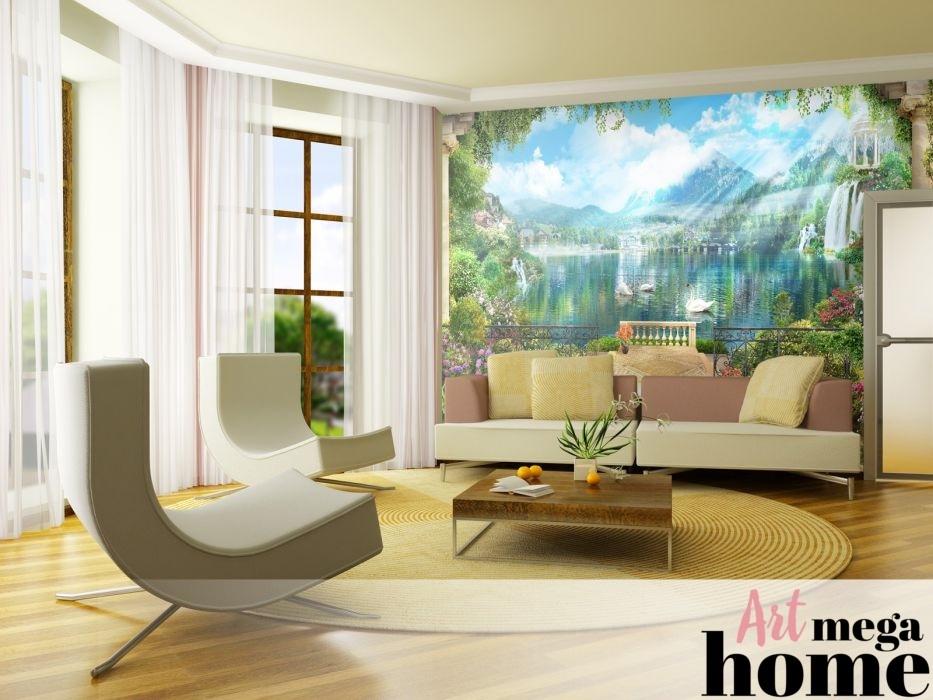 Вид на швейцарское озеро в разрезе интерьера гостиной в пастельных тонах