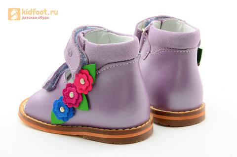 Босоножки на первый шаг Тотто из натуральной кожи на липучках для девочки, цвет сирень. Изображение 7 из 16.