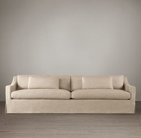 Belgian Classic Slope Arm Slipcovered Two-Seat-Cushion Sofa