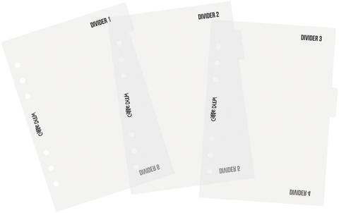 Пластиковые разделители с табами -A5 PLANNER-Carpe Diem  - Divider Templates-3 шт.