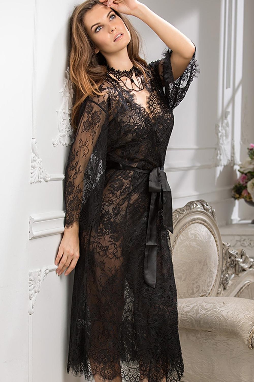 Длинный просвечивающий халат черный (Длинные пеньюары)