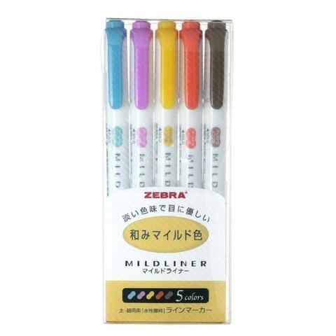 Текстовыделители Zebra Mildliner (5 шт. набор №3: теплые пастельные оттенки WKT7-5C-RC)