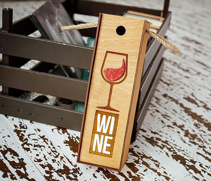 BOX242 Деревянная коробка для вина с раскрасом (33*10*10,5 см)