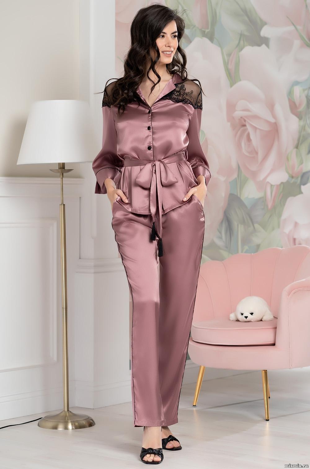 шелк натуральный Комплект домашний с брюками Mia-Amore OLIVIA ОЛИВИЯ 3646 античная роза 3646_1__1_.jpg