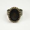Основа для кольца с сеттингом с круглым краем для кабошона 14х10 мм (цвет - античная бронза)