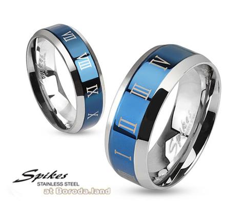 Синее мужское кольцо «Spikes» из стали с узором