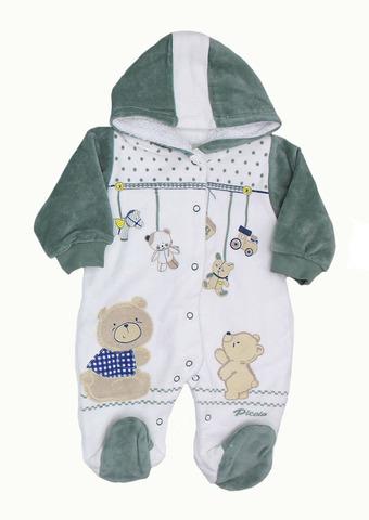 QUE KIDS Комбинезон для малышей велюровый внутри евромахра зеленый