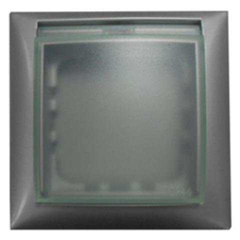 Рамка на 1 пост, универсальная защитная с крышкой для выключателей и розеток. Цвет Серебристый металлик. LK Studio LK60 (ЛК Студио ЛК60). 869103