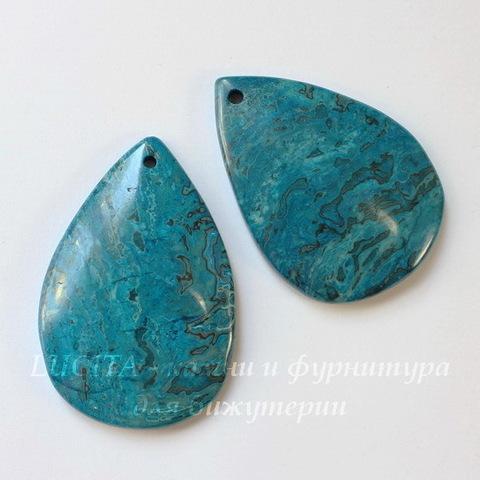 """Подвеска Агат """"Крейзи"""" (тониров) капля, цвет - голубой, 52х36 мм"""