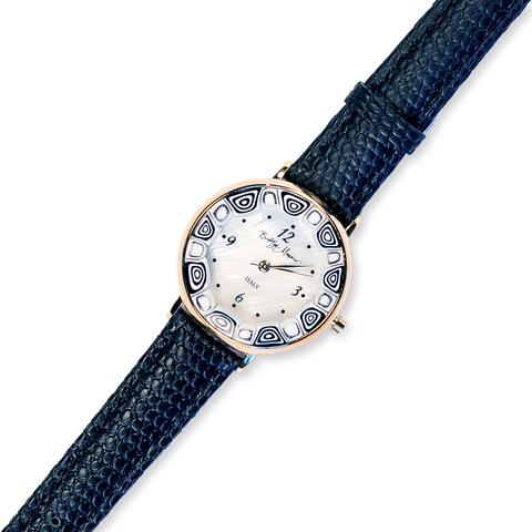 Часы на черном кожаном ремешке из муранского стекла