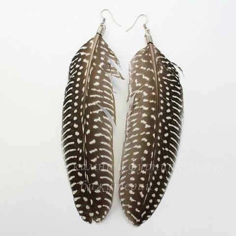 Серьги с перьями , цвет швенз - никель , цвет пера - черный с белым
