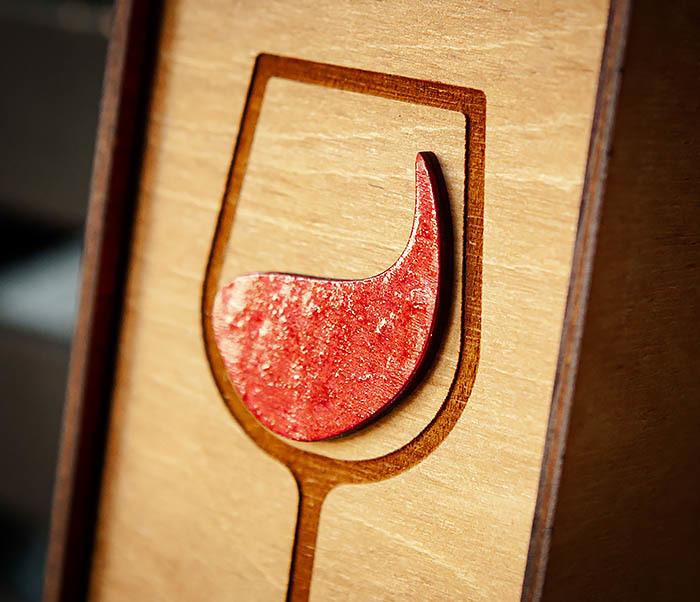 BOX242 Деревянная коробка для вина с раскрасом (33*10*10,5 см) фото 03