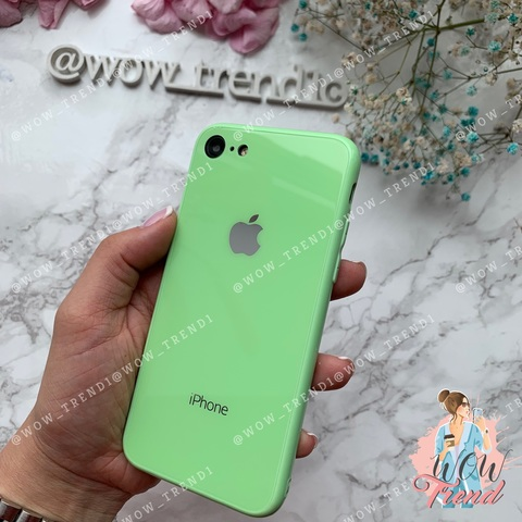 Чехол iPhone 7/8 Glass Full color Case Logo /green/