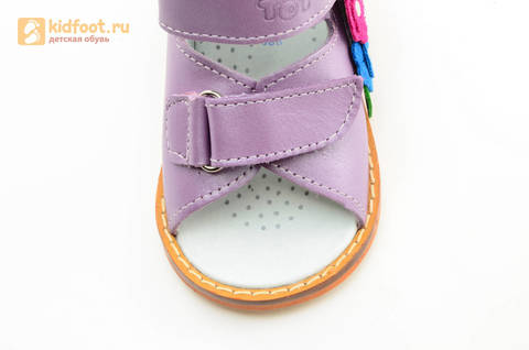 Босоножки на первый шаг Тотто из натуральной кожи на липучках для девочки, цвет сирень. Изображение 12 из 16.