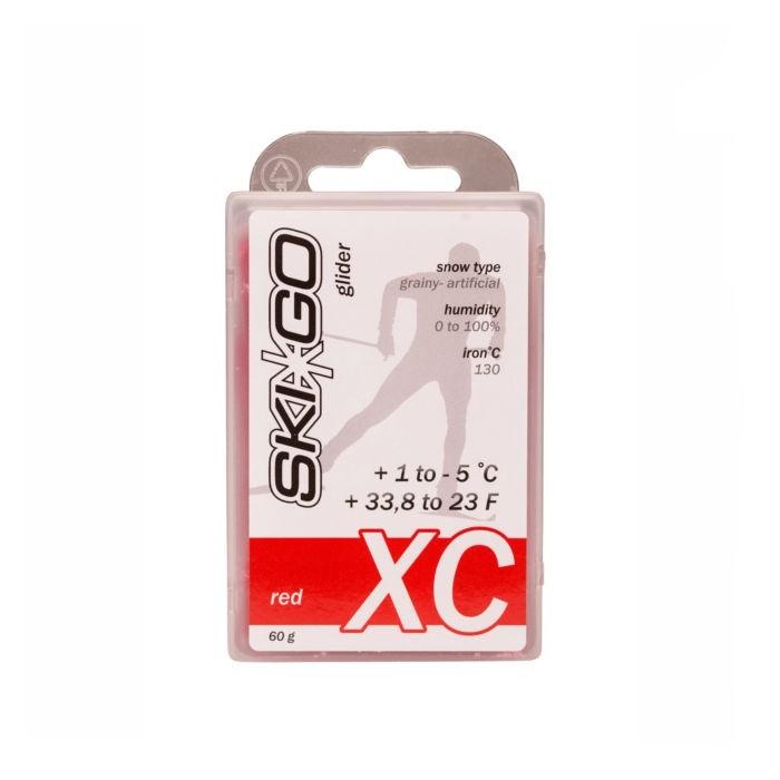 Парафин углеводородный Skigo XC Glider Red (для стар. и искус. снега) (+1°С -5°С) 60 г.