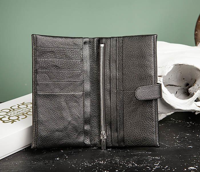 WL326-1 Мужской кожаный купюрник черного цвета, «Hanz» фото 06