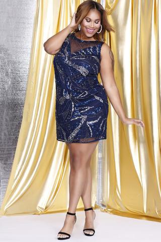 Shail K 7313 Платье с расшитым пайетками, прямая юбка, большой размер,цвет:синий
