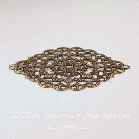 """Коннектор """"Филигрань"""" (1-1) 53х38 мм (цвет - античная бронза)"""