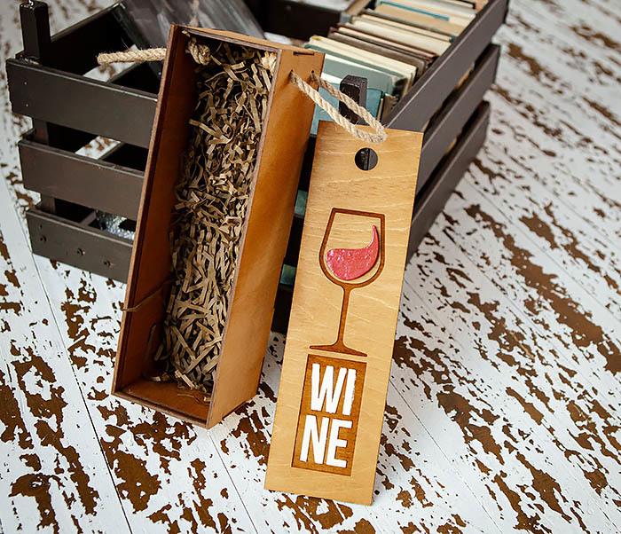 BOX242 Деревянная коробка для вина с раскрасом (33*10*10,5 см) фото 05