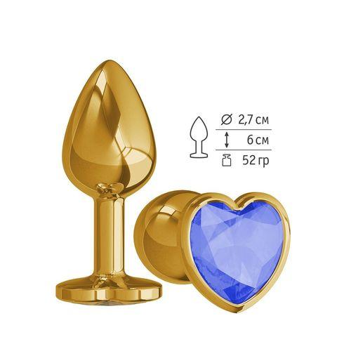 Золотистая анальная втулка с синим кристаллом-сердцем - 7 см.
