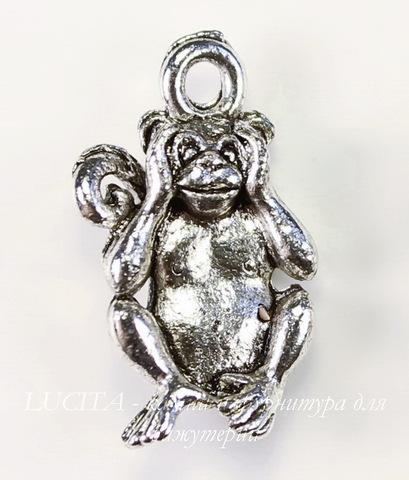 """Подвеска Quest Beads """"Ничего не слышу"""" (цвет-античное серебро) 19х12 мм"""
