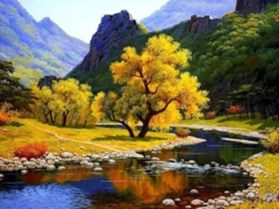 Картина раскраска по номерам 40x50 Дерево на фоне гор ...