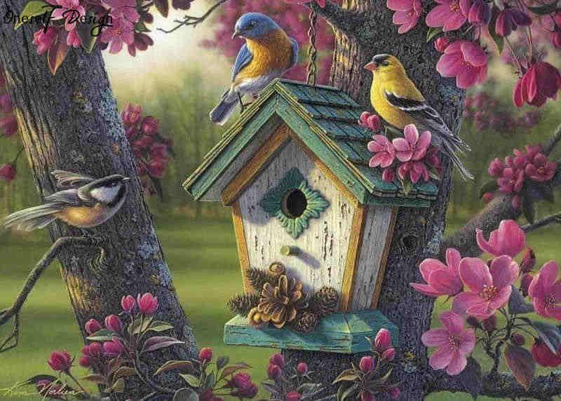 Картина раскраска по номерам 50x65 Кормушка в цветах (арт ...