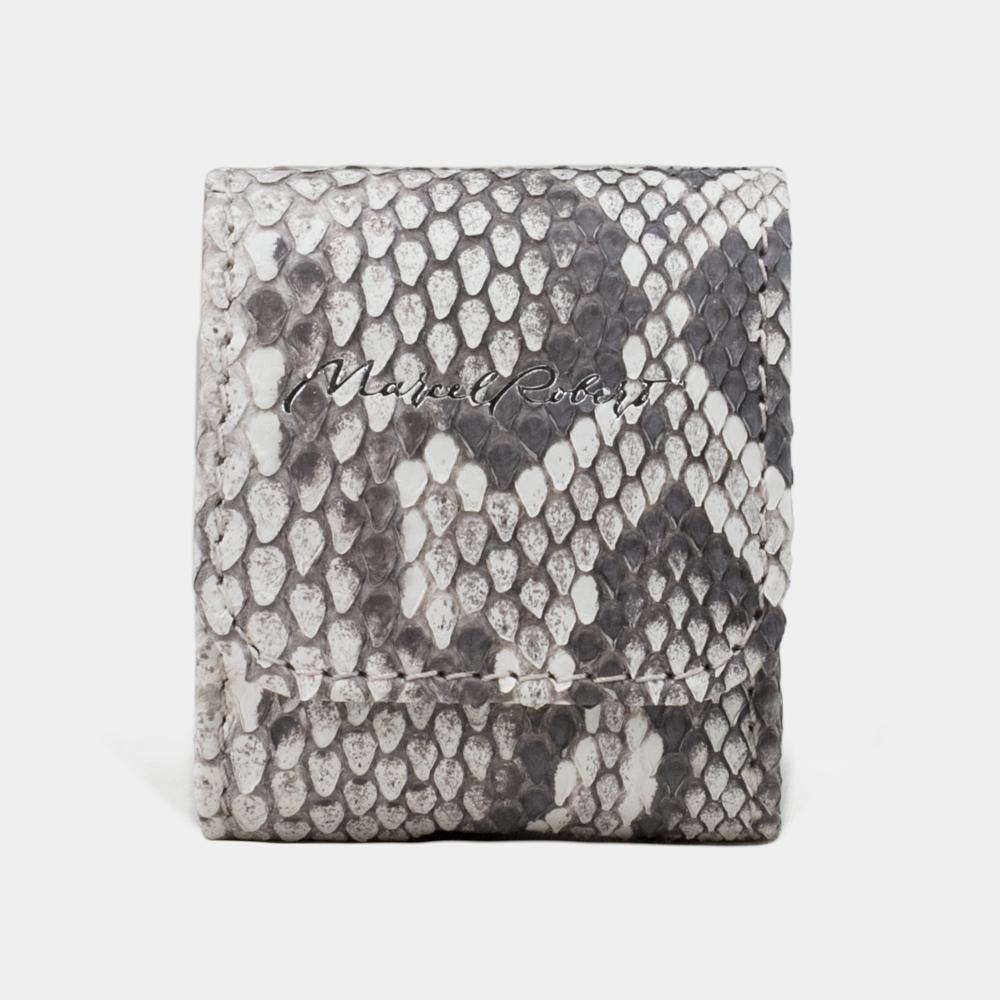 Чехол-держатель для наушников Petit Bisness из натуральной кожи питона, цвета Natur