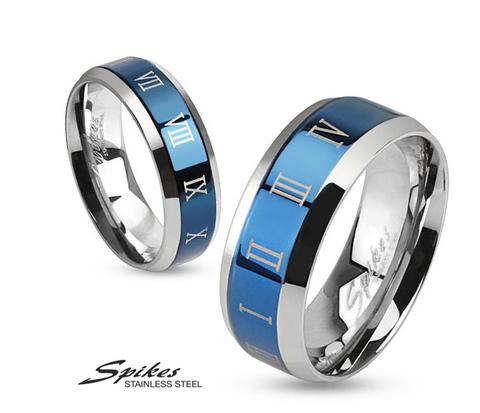 Мужское кольцо синего цвета из стали с римскими цифрами