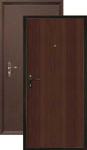 Дверь входная Valberg Б-2 Спец, 1 замок, 0,8 мм  металл, (медь антик+итальянский орех)