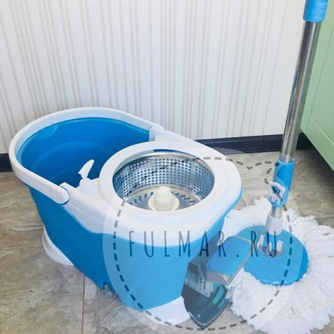 Швабра и ведро со Стальной педалью для отжима и полоскания Spin Mop 9 литров Голубая