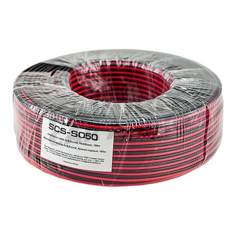 Монтажный кабель AURA SCS-S050 красн.-черн. (100)