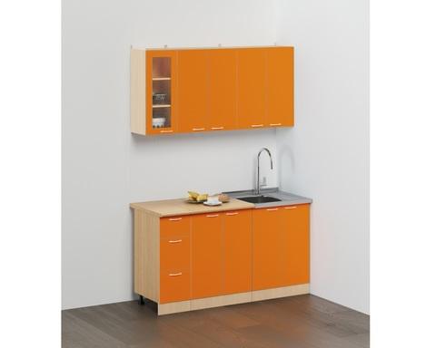 Кухня ЭКОНОМ -2 КХ-11 дуб беленый / оранжевый