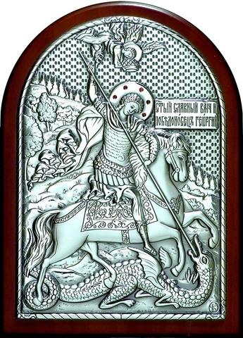 Серебряная инкрустированная гранатами икона Святого Георгия Победоносца 20х14,5см в подарочной коробке