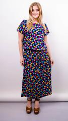 Мрия. Яркое платье больших размеров. Цветы на синем.