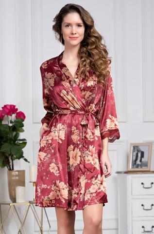 Короткий халат из шелка Mia Amore Burgundia 3623