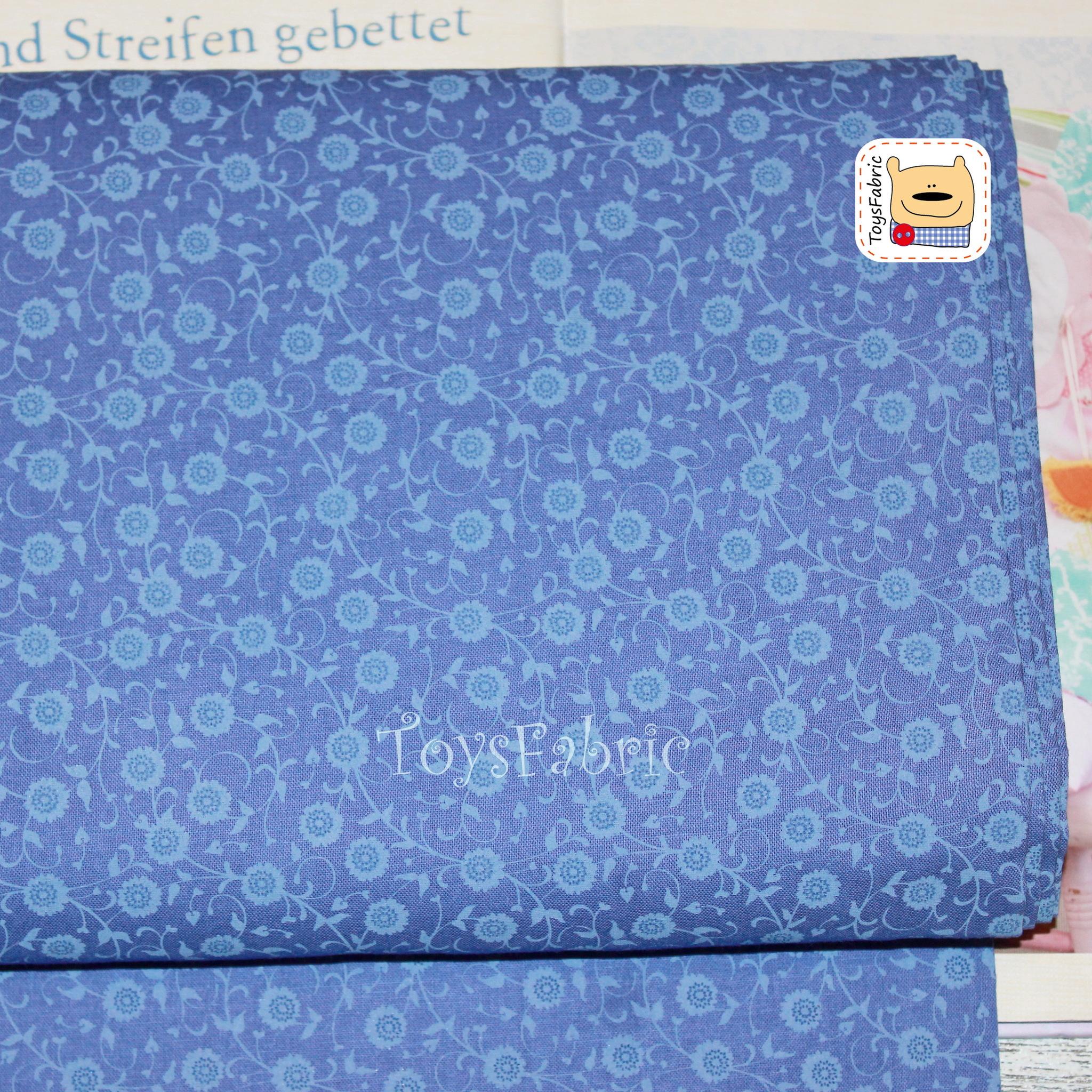 Ткань для пэчворка 20621 (цветы на синем) 45х55см