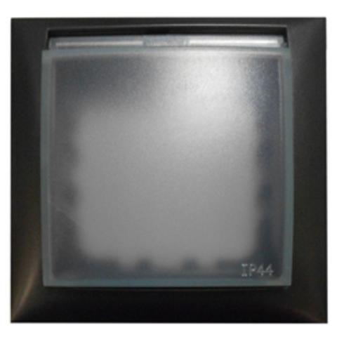 Рамка на 1 пост, универсальная защитная с крышкой для выключателей и розеток. Цвет Чёрный бархат. LK Studio LK60 (ЛК Студио ЛК60). 869108