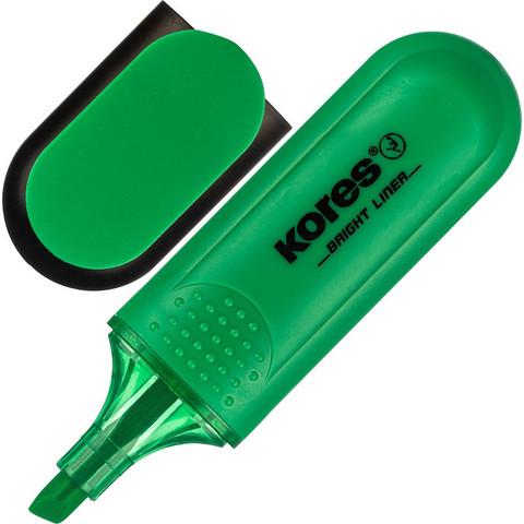 Маркер выделитель текста KORES зелёный 1-5мм ?36105