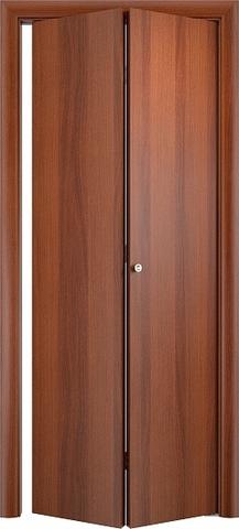 Дверь складная Верда ДПГ (2 полотна), цвет итальянский орех, глухая