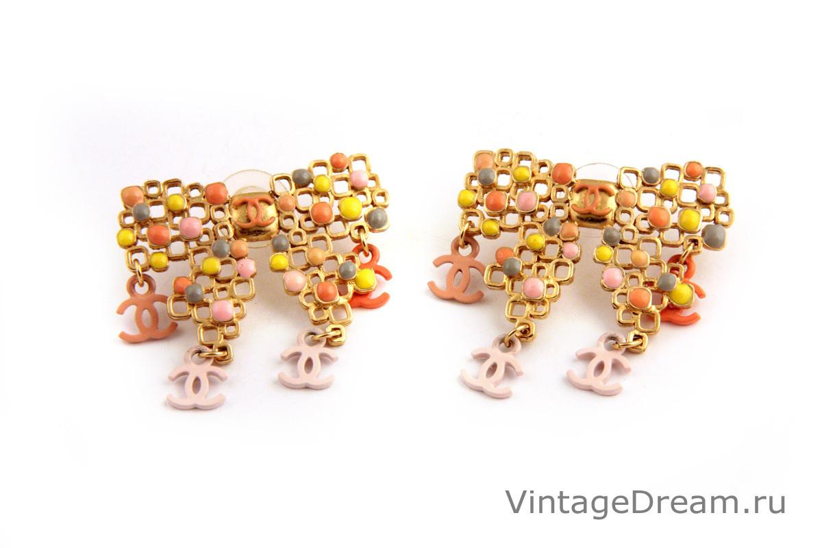 Красивые редкие серьги «Бантики» с разноцветной эмалью от Chanel