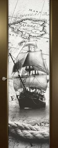 Дверь Океан Prestige Estel Шторм-3, стекло белое с рисунком Бриг, цвет венге, остекленная
