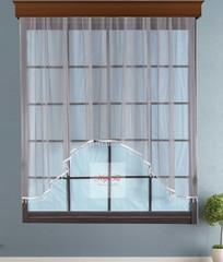Короткий тюль-арка со стеклярусами. Клайм (серый)