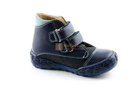 Ботинки Тотто из натуральной кожи демисезонные на байке для мальчиков, цвет темно-синий. Изображение 2 из 11.
