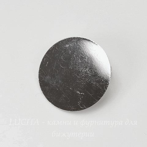 Основа для броши с круглой площадкой 25 мм (цвет - платина)