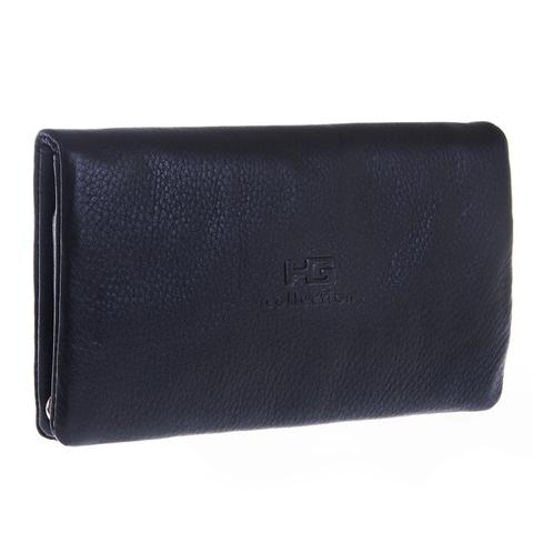 Изящный мужской чёрный клатч портмоне из натуральной кожи на кнопках GALIB 4M220