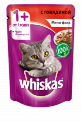 Whiskas мини-филе с говядиной 85 гр